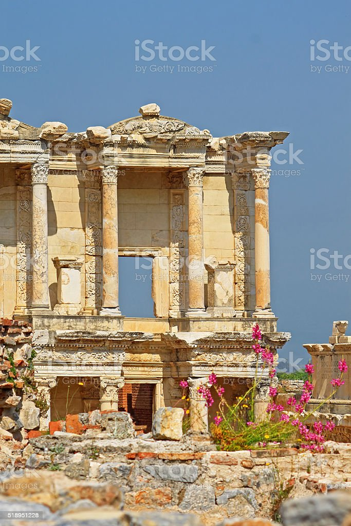 The remains of the enormous Library of Celsus in Ephesus stock photo
