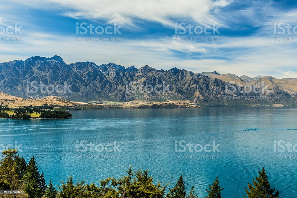 The Remarkables and Lake Wakatipu, Queenstown, New Zealand stock photo