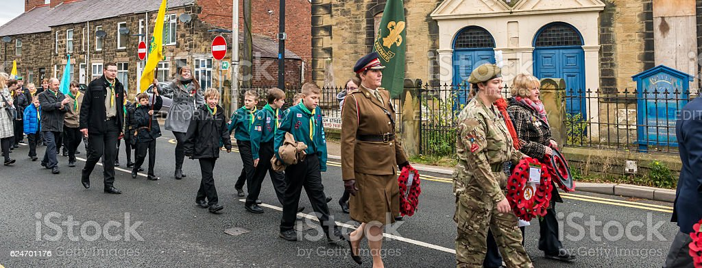 The Remembrance Parade on Remembrance Sunday 2016 in Wrexham Wales stock photo