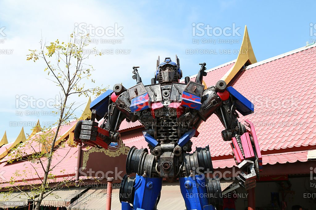The Replica of Optimus Prime robot stock photo
