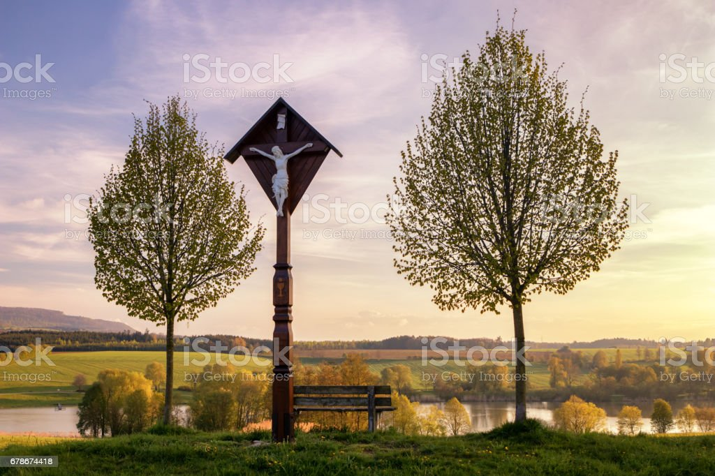 The reservoir lake at Rainau Buch, near Ellwangen (Jagst) in Baden-Wurttemberg, Germany at evening sunset. stock photo