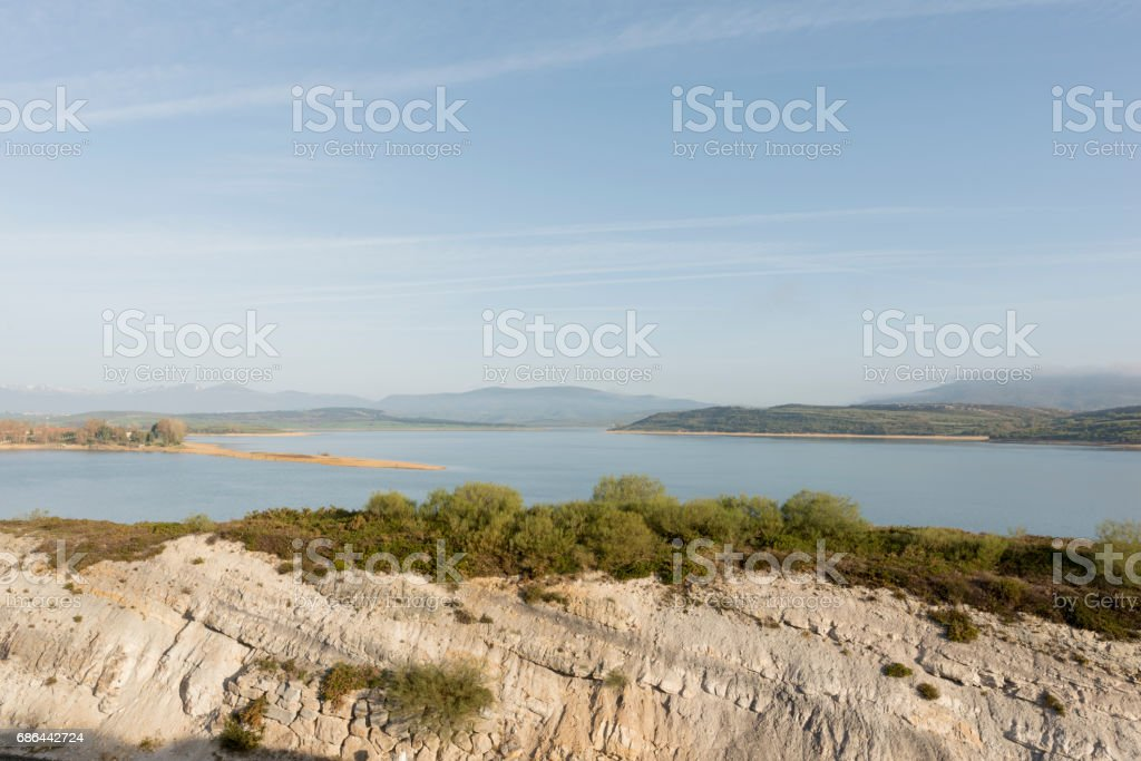 The reservoir of Reinosa in the province of Cantabria stock photo