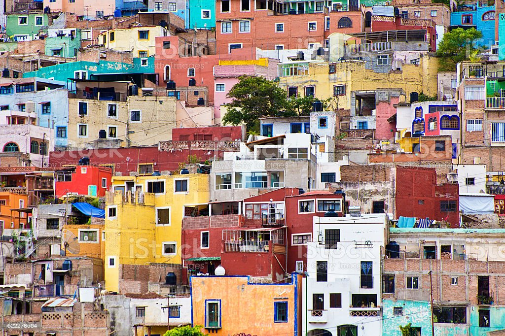 The residential Housing of Guanajuato, Mexico stock photo