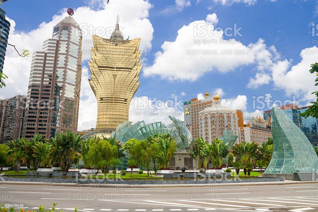 The resort casinos in downtown in Macau stock photo