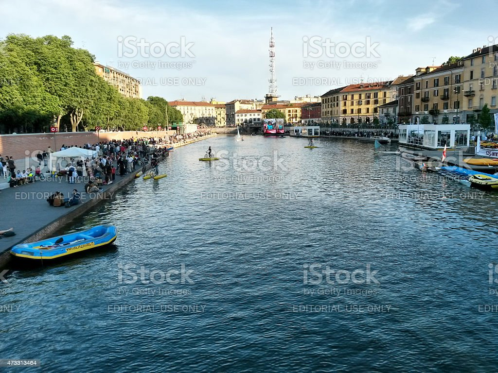 The restyled famous Darsena in Milan (Italy) stock photo