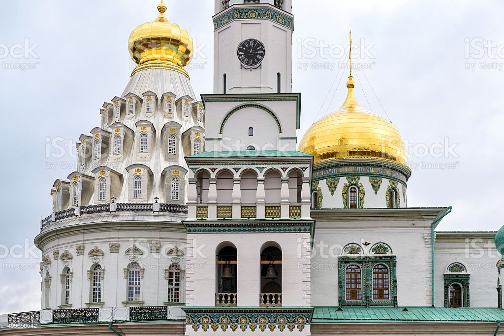 The Resurrection Cathedral in New Jerusalem Monastery, Russia stock photo