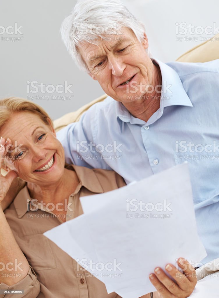 The retirement package finally came through stock photo