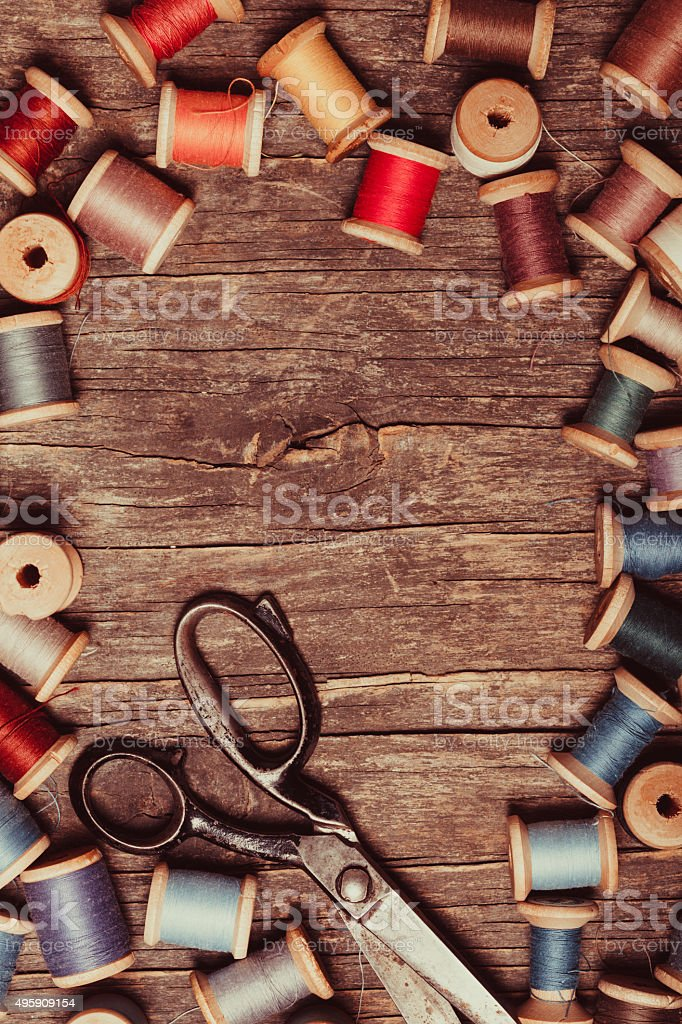 The Retro sewing stock photo