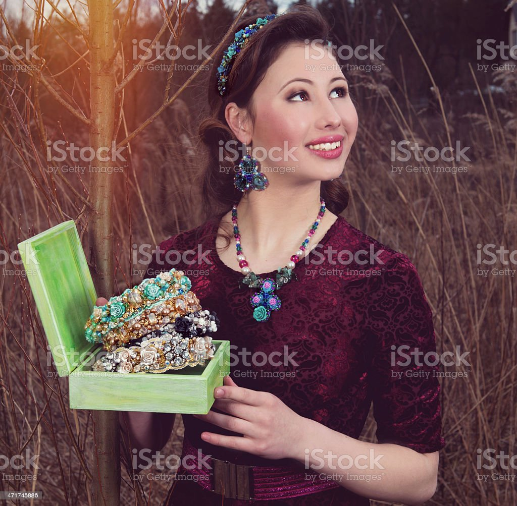 The retro the woman with headbands stock photo