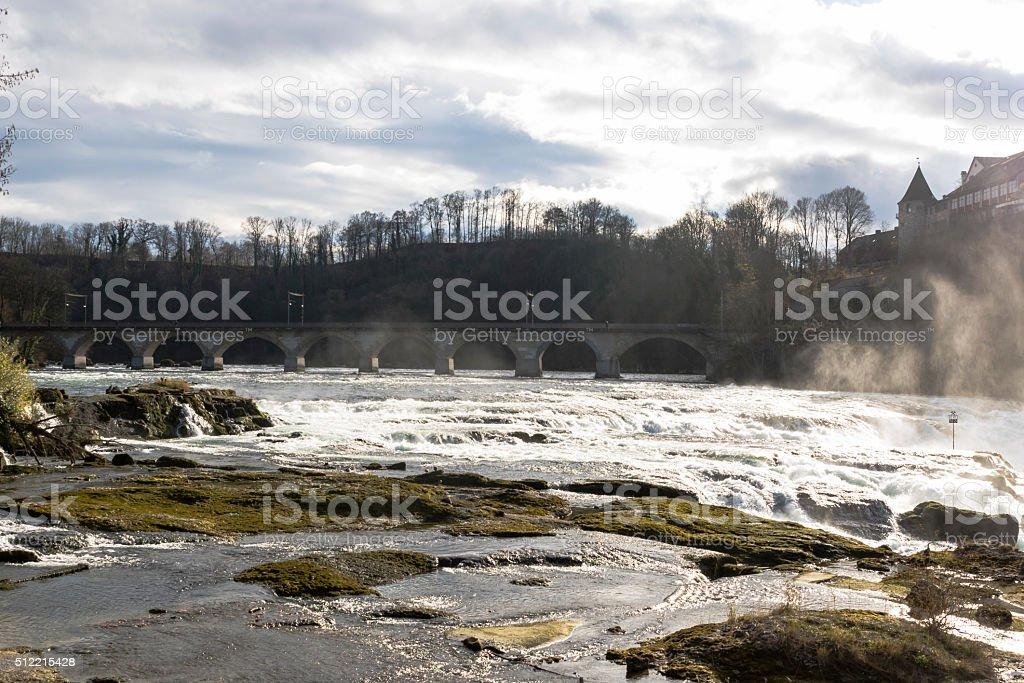 The Rhine Falls in Schaffhausen, Switzerland. stock photo