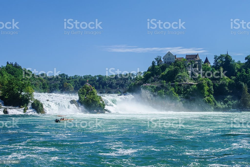 The Rhine Falls is the largest waterfall in Europe, Schaffhausen stock photo