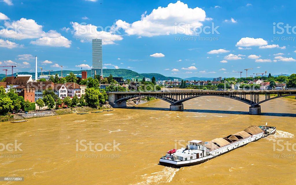 The Rhine river in Basel, Switzerland stock photo