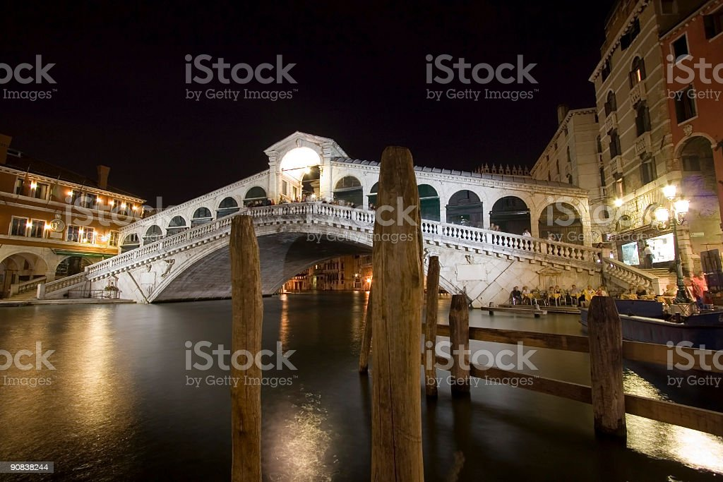 The Rialto Bridge at Night royalty-free stock photo