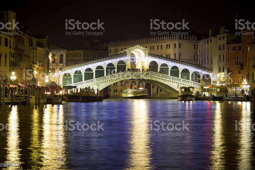 The Rialto Bridge at night, Venice, Italy royalty-free stock photo