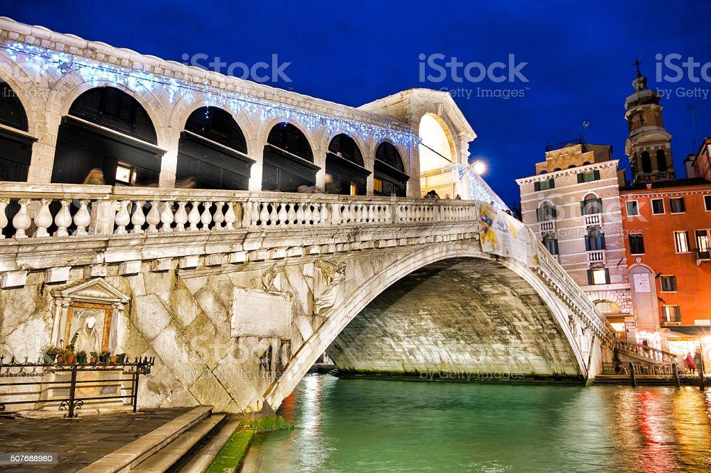 The Rialto bridge by night stock photo