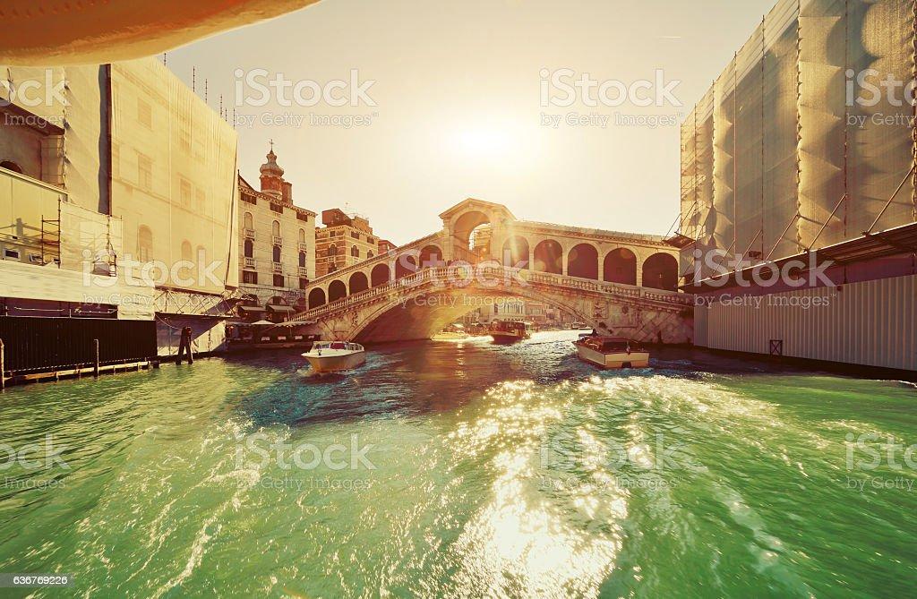 The Rialto bridge in the Sunlight, Venice, Italy stock photo
