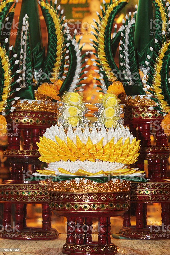 the rice offering for knighting parade relics of the Buddha. stock photo