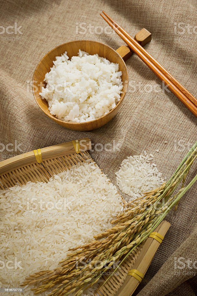 the rice on sackcloth royalty-free stock photo