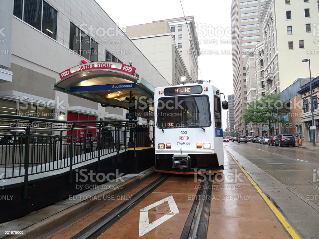 The Ride - H Line light rail stops at station stock photo