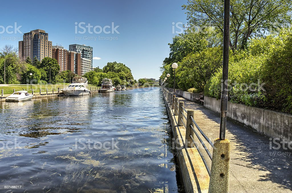 The Rideau Canal in Ottawa stock photo