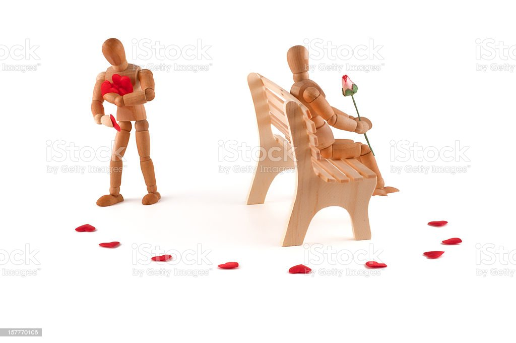 the right way - wooden mannequin waits for his/her love stock photo