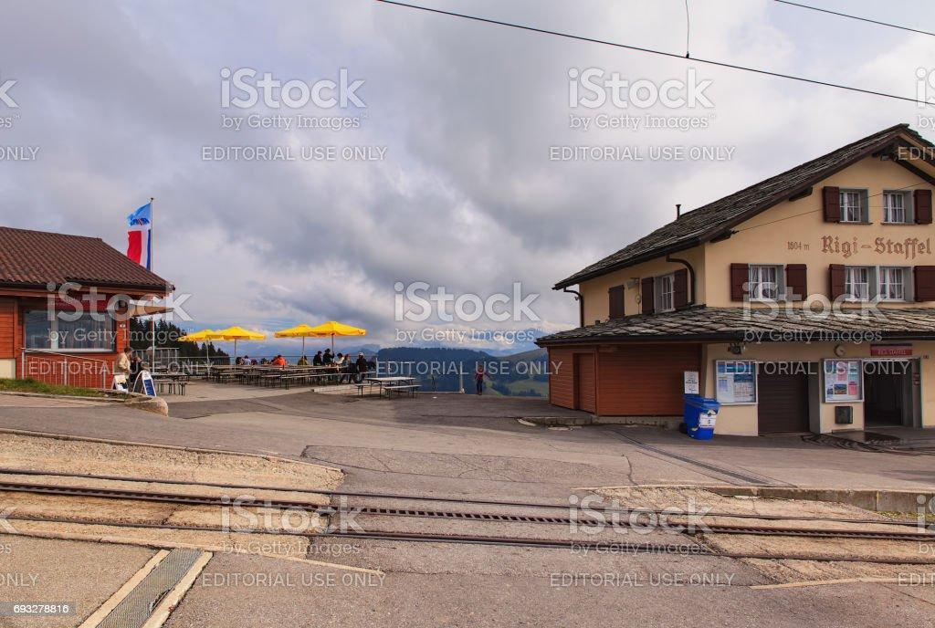 The Rigi-Staffel railway station and a restaurant on Mt. Rigi in Switzerland stock photo