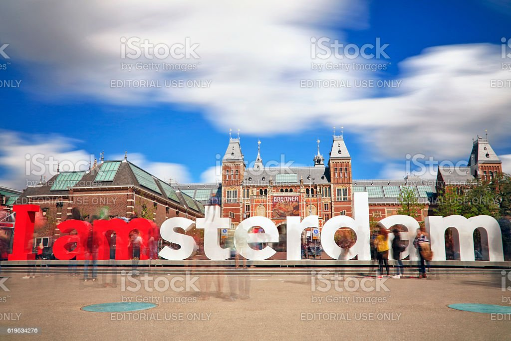 The Rijksmuseum and I Amsterdam sign - Long exposure stock photo