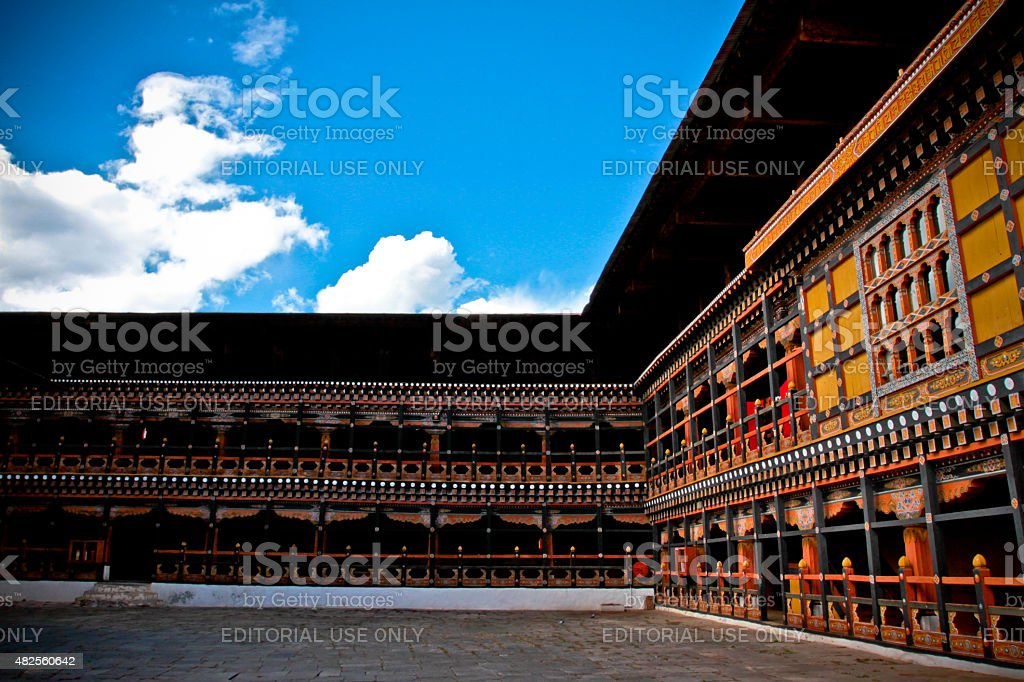 The Rinpung Dzong Fort Courtyard, Paro, Bhutan stock photo