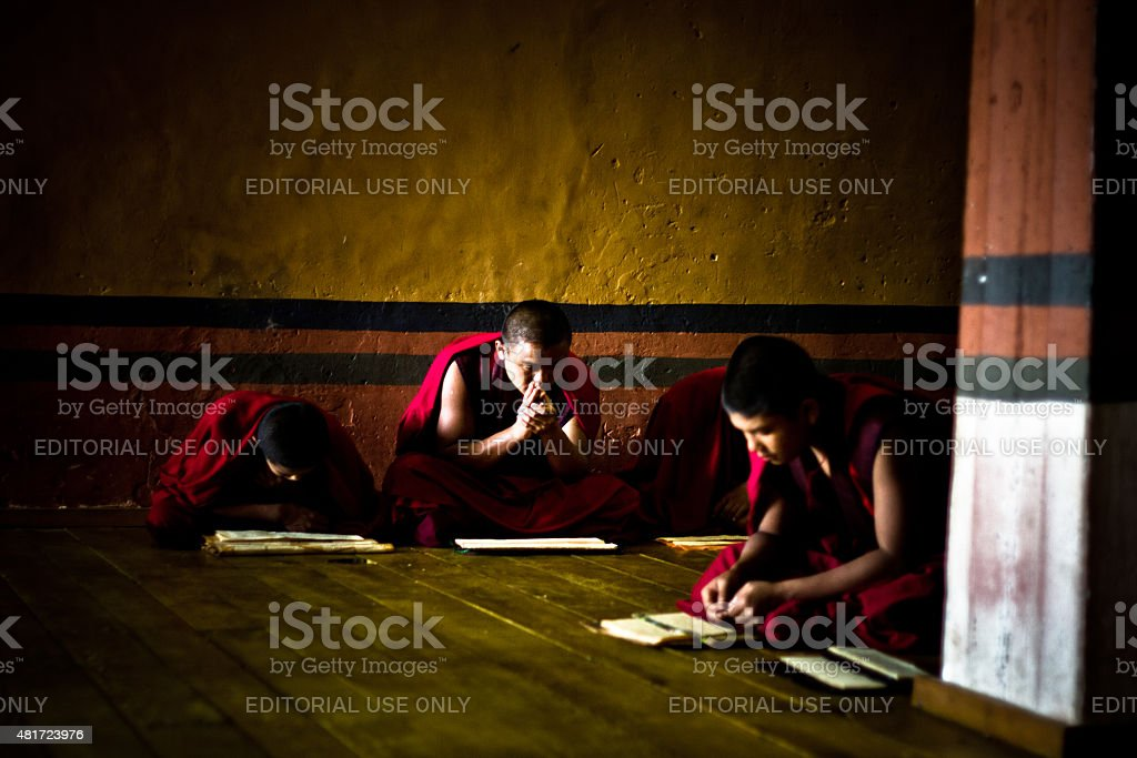 The Rinpung Dzong Fortress Monastery school for monks, Bhutan stock photo