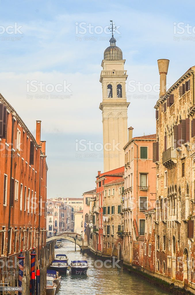 The Rio di San Lorenzo Canal in Venice, Italy stock photo