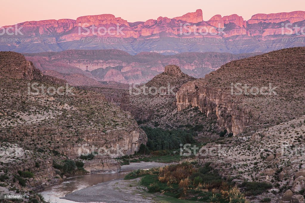 The Rio Grande and Sierra del Carmens stock photo