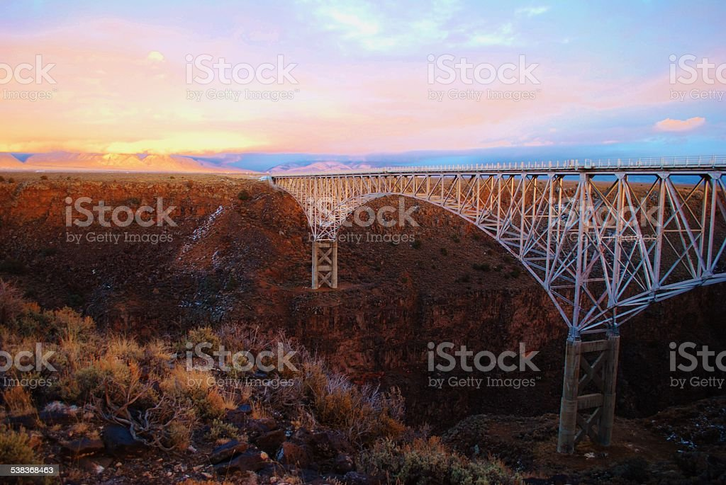 The Rio Grande Gorge Bridge at sunset stock photo