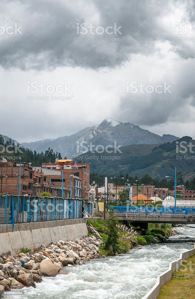 The Rio Quilcay In Huaraz, Peru stock photo