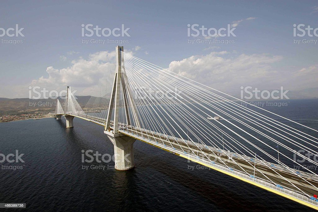 ATENE GREECE -The Rion-Antirion Bridge. stock photo