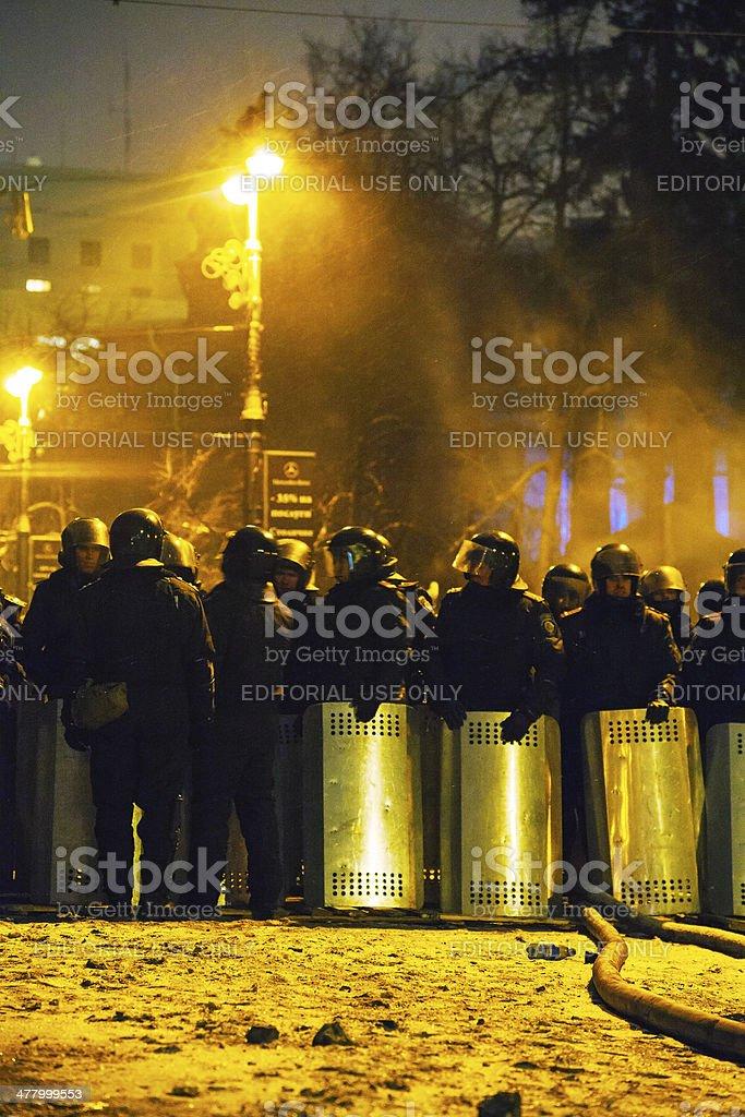 The riot police at Hrushevskogo street in Kiev, Ukraine stock photo