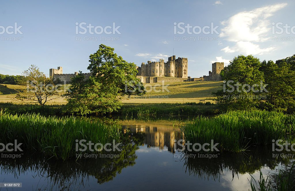 The river Aln next to Alnwick Castle royalty-free stock photo