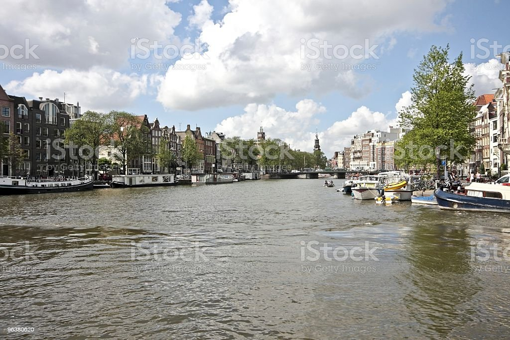 The river Amstel in Amsterdam Netherlands stock photo