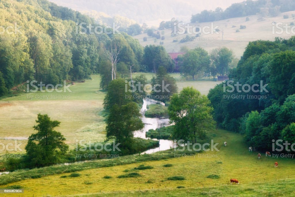 The river Brenz in the Eselsburger valley (Eselsburger Tal) in a sunny summer morning stock photo