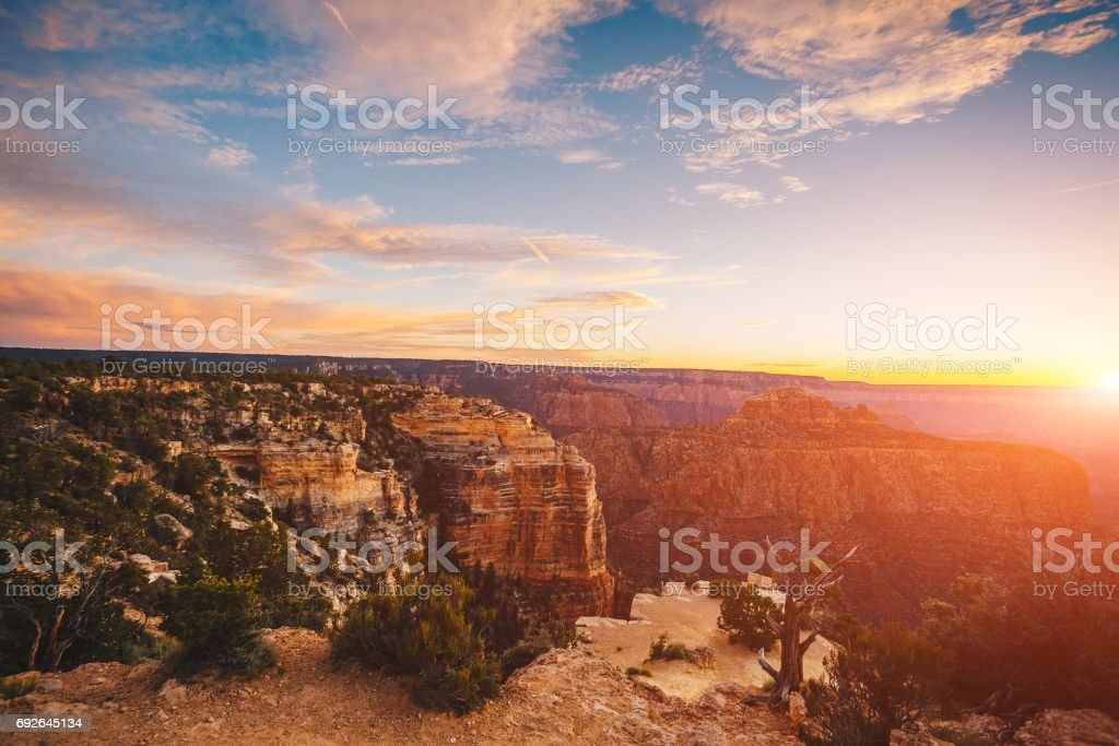 The River Colorado Through the Grand Canyon at Sunset, Grand Canyon National Park, Arizona USA stock photo