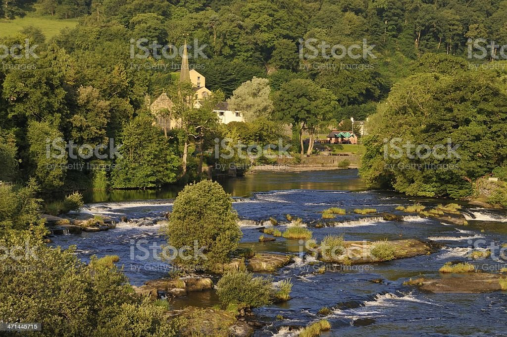 The River Dee at Llangollen stock photo