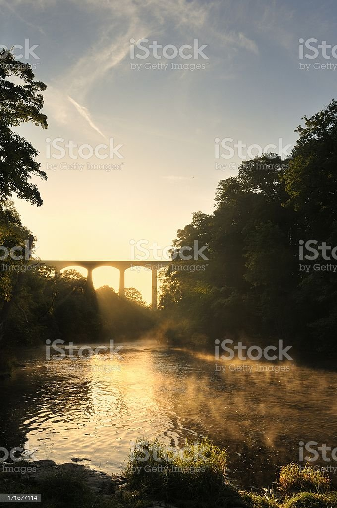 The River Dee at Pontcysyllte portrait stock photo