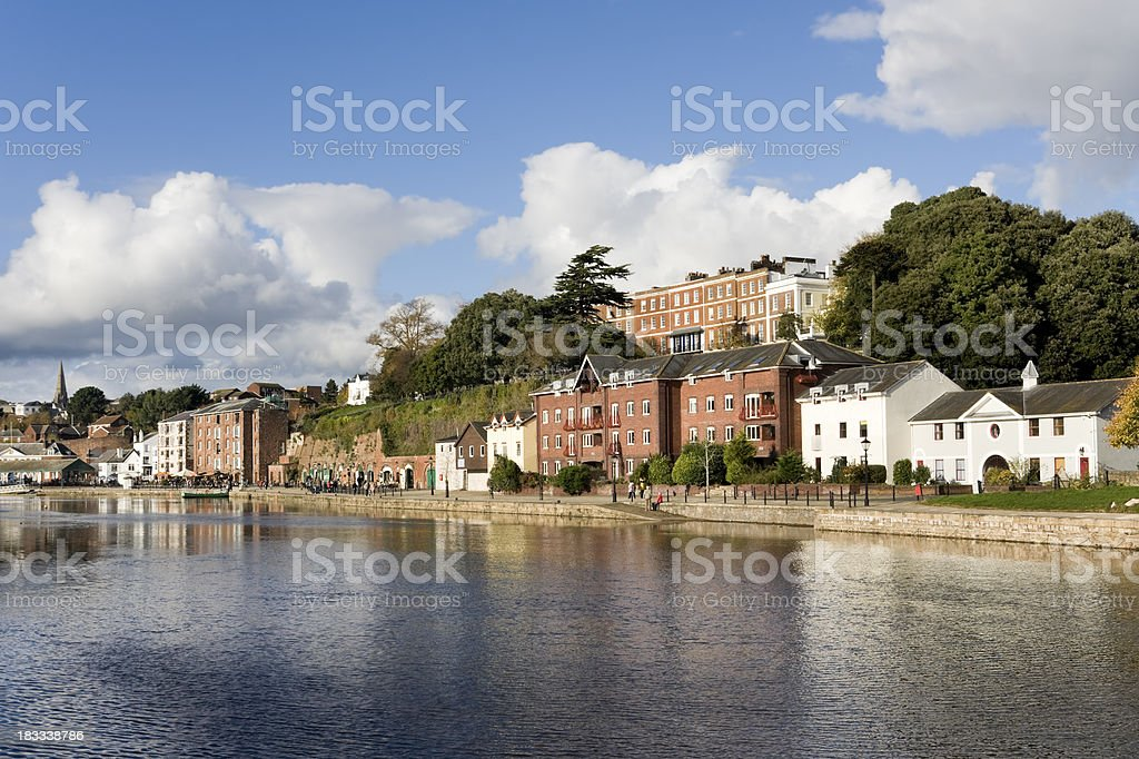 The river Exe and Exeter quayside in Devon stock photo