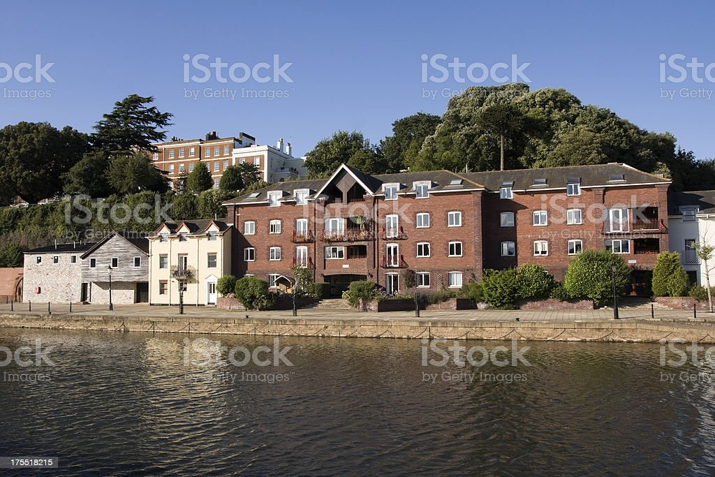 The river Exe leading to Exeter quayside in Devon royalty-free stock photo