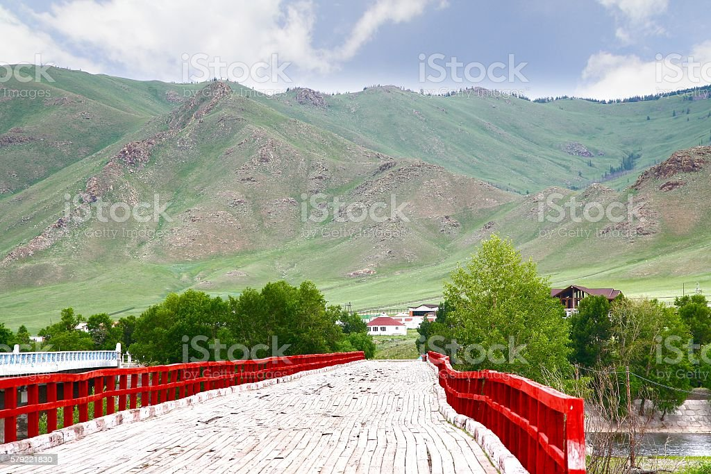 The river in Gorkhi-Terelj National Park at Ulaanbaatar , Mongolia stock photo