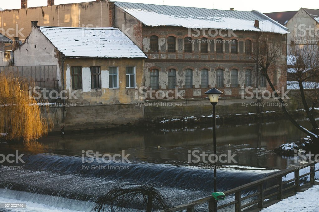 The river in the old city stock photo