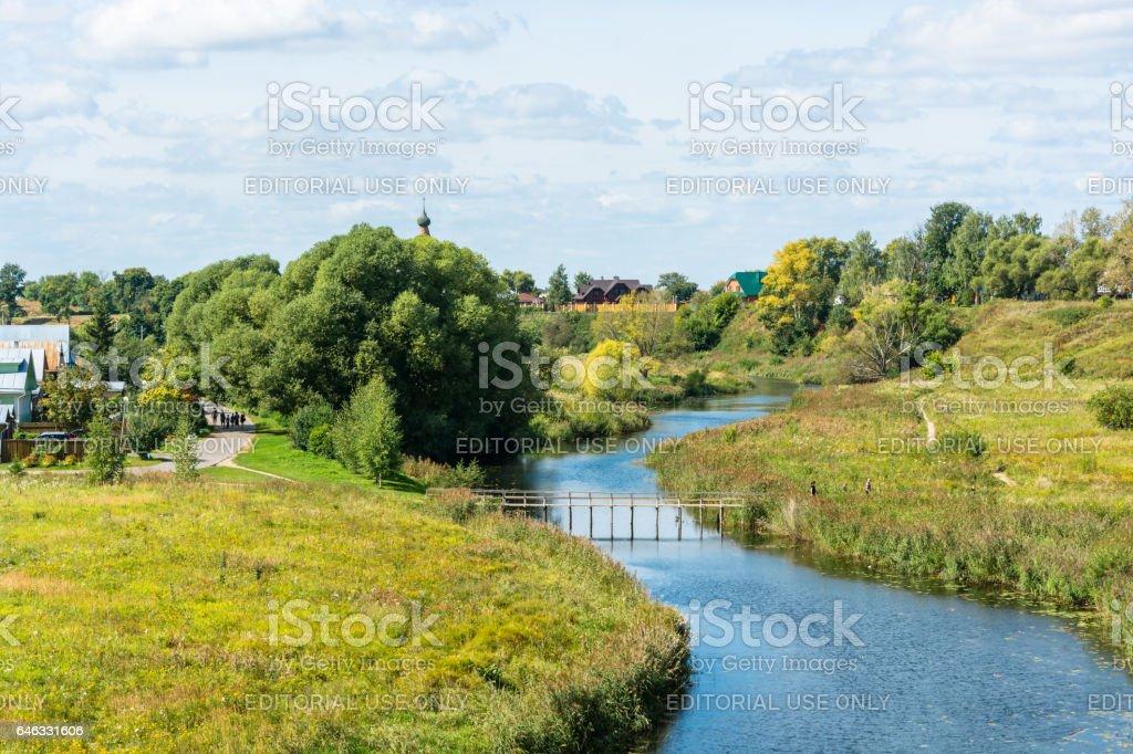 The river Kamenka in Suzdal. stock photo