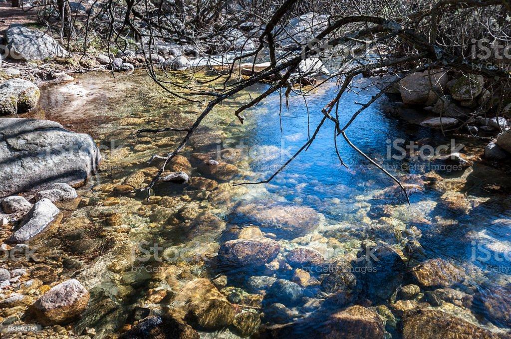 The River Manzanares along its course through La Pedriza stock photo