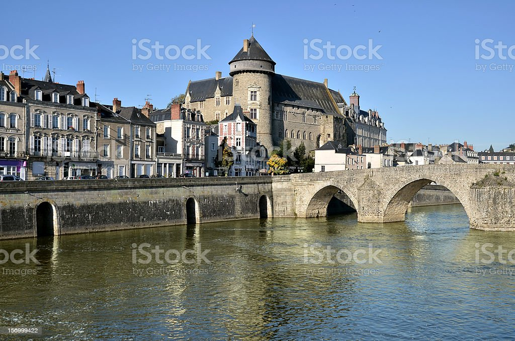 The river Mayenne at Laval in France stock photo
