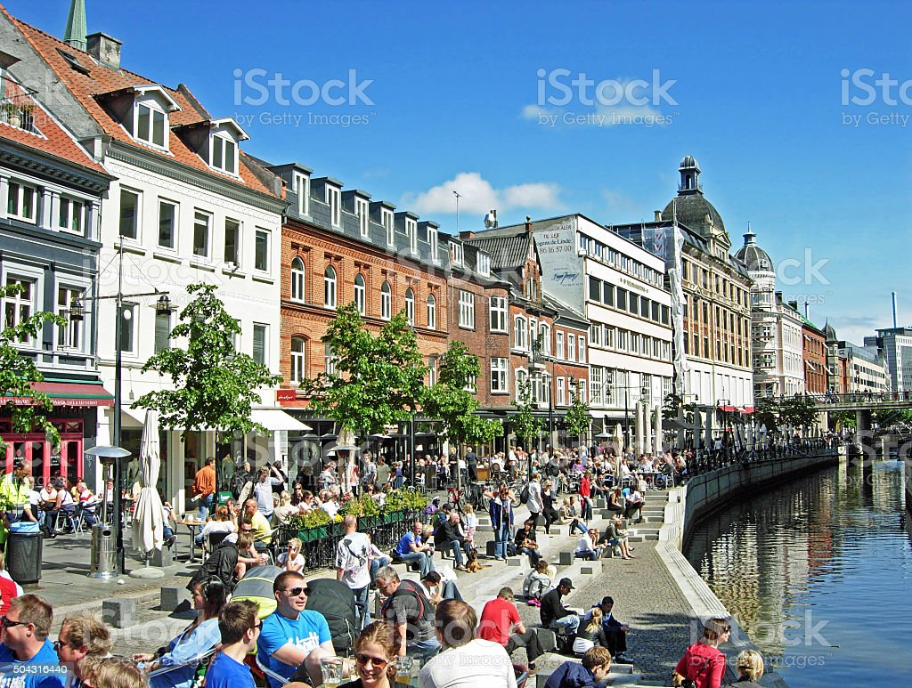 The river of Aarhus (Aarhus Canal) in Midtbyen stock photo