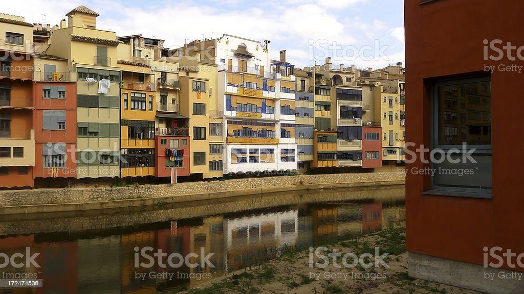 The River Onyar Girona royalty-free stock photo